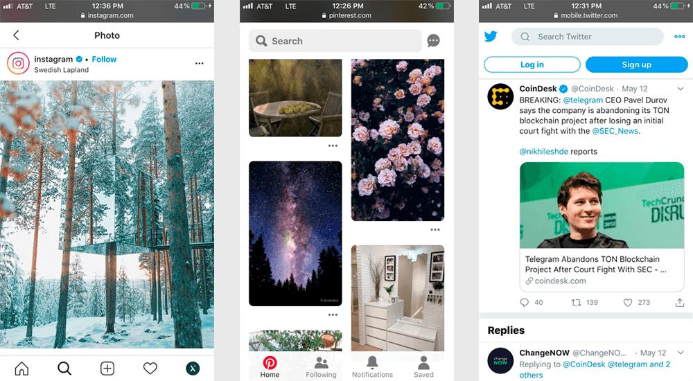 Three screenshots demonstrate the PWA interface of Instagram, Pinterest, and Twitter