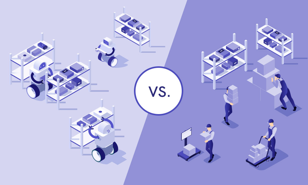 The picture compares two types of a warehouse: automated and manual