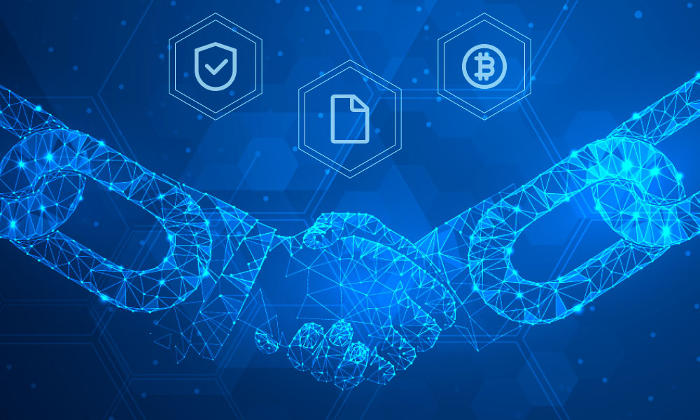 A handshake represented by two chains and icons of Security, Documentation, and Bitcoin above