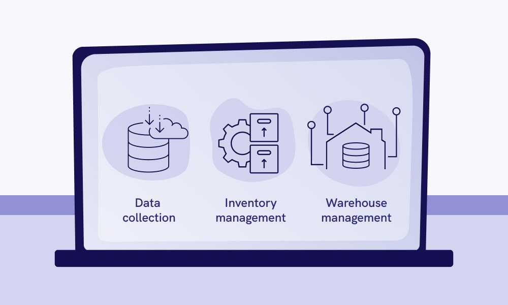 A laptop vector image and the icons of Data collection, Inventory management, Warehouse management on the screen