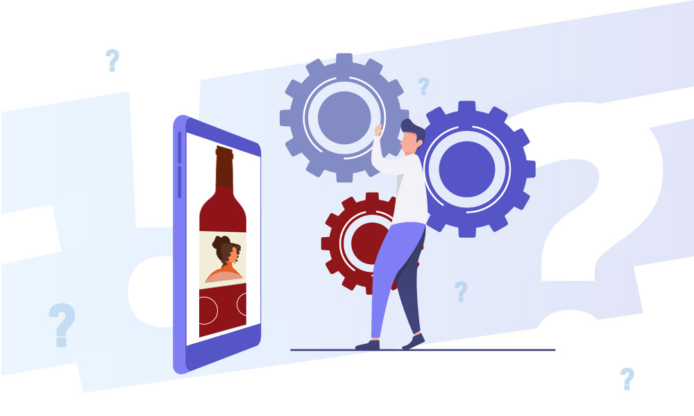 A vector image of a person who spins gears next to the phone with AR wine bottle on the screen
