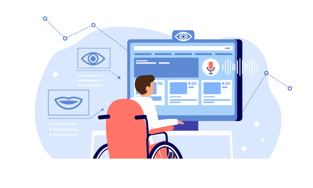 A person with motor impairment controls the computer with the help of eye movements, facial expressions, and voice