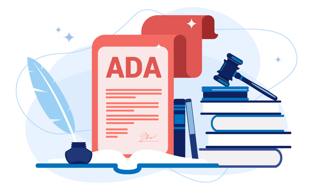 A printed ADA document next to an inkwell and a pile of books