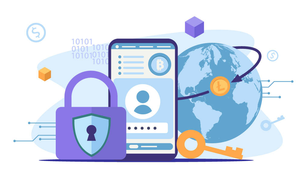 A mobile phone with a blockchain wallet on the screen next to a security icon and a key