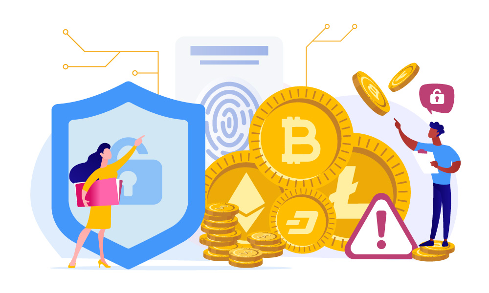 Two people speaking of data security and pointing on physical coins of cryptocurrencies
