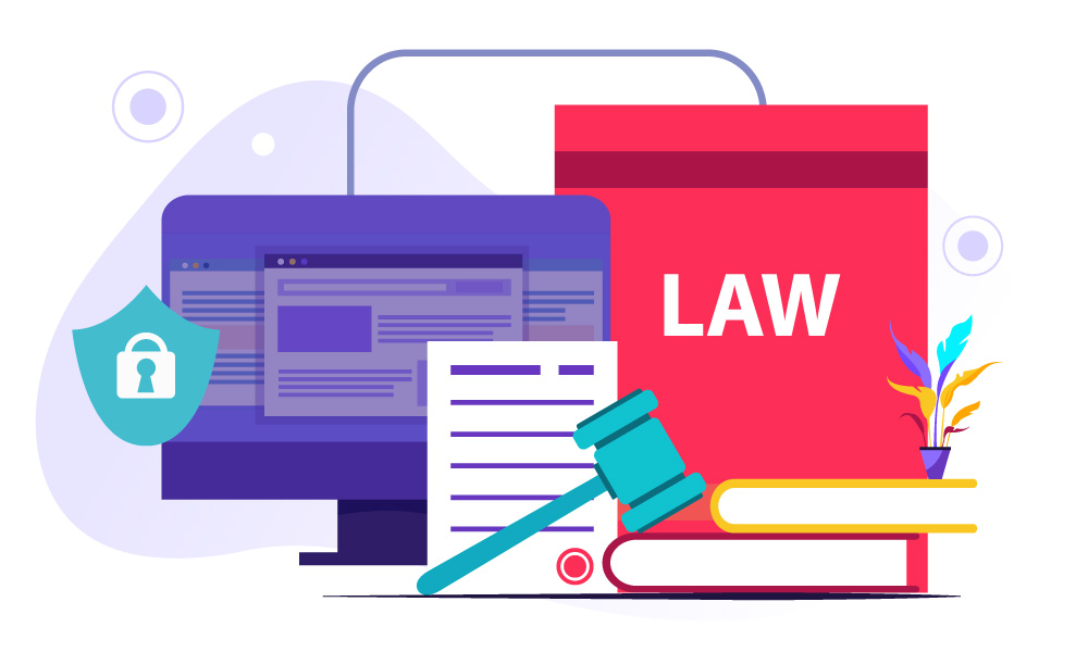 The monitor, ADA document, and a gavel standing for accessibility laws and regulations