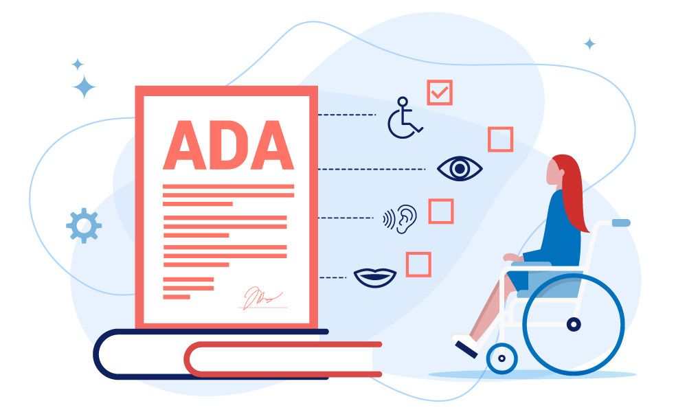 A person in a wheelchair examine ADA document components