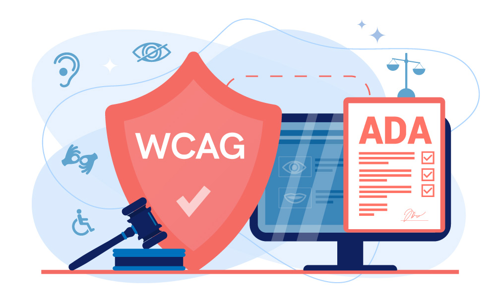 WCAG and ADA documents surrounded by the icons of human senses