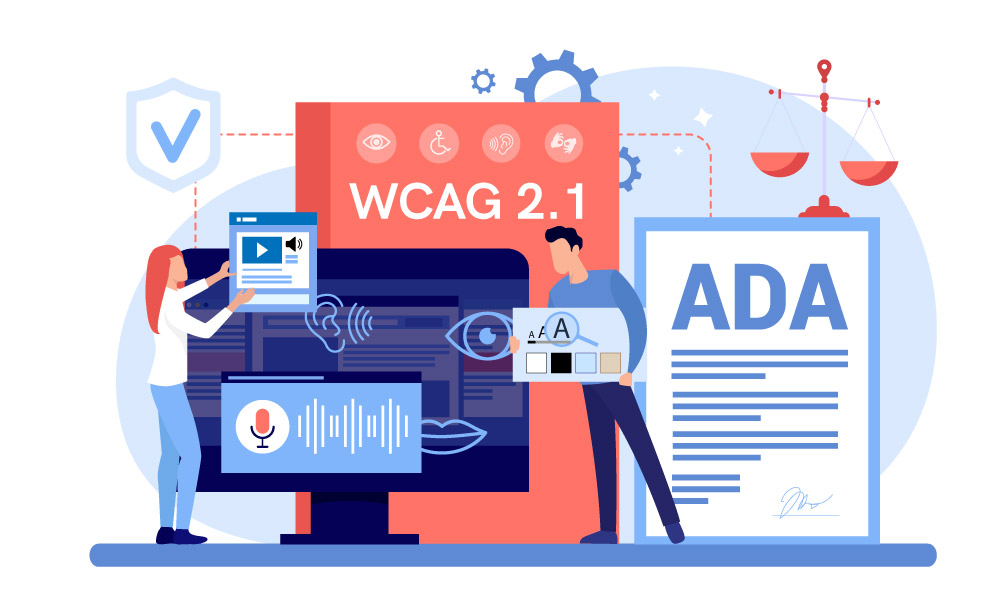 Two people constructing ADA compliant website with the help of WCAG 2.1