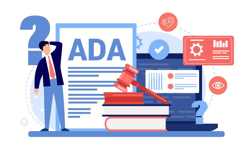 A person stands next to a pile of books, question marks symbols and ADA document