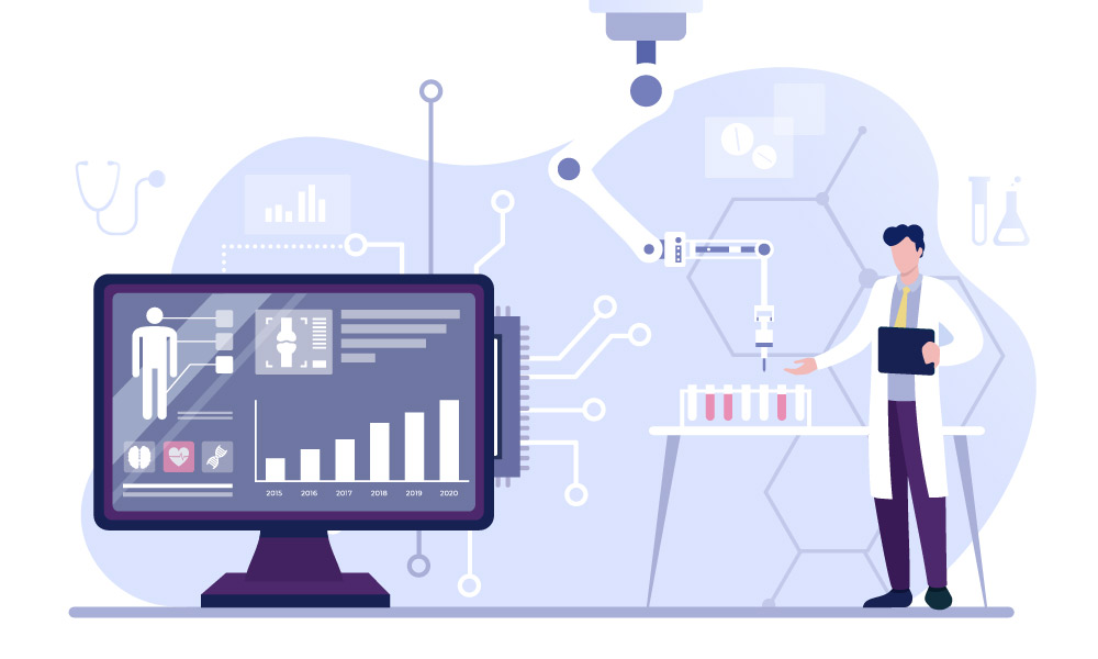 A scientist in a research laboratory analyzing data with the help of artificial intelligence