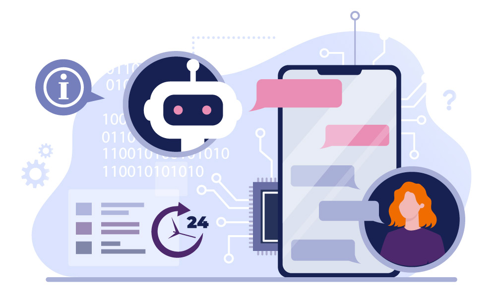Visualization of a chatbot providing support to a customer