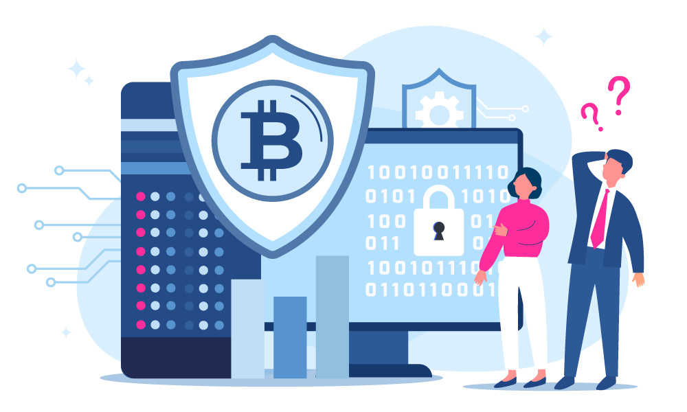 Two people standing next to a personal computer and a shield with bitcoin icon
