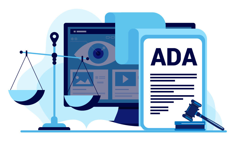 Scales and ADA document next to a monitor with a human eye on a screen