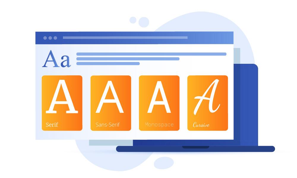 A line of four font families - Serif, Sans-Serif, Monospace, Cursive