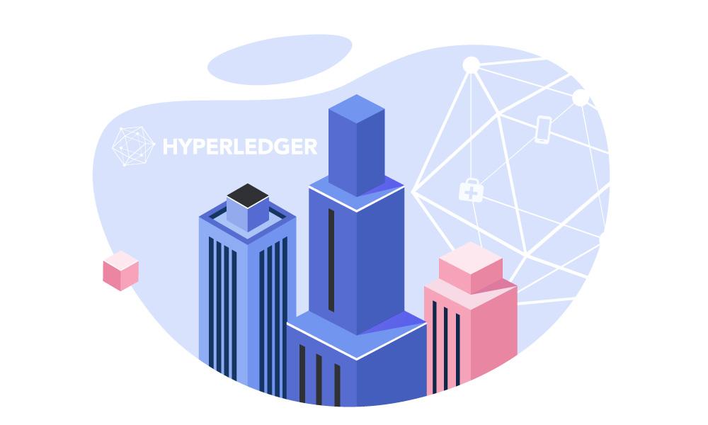 Hyperledger logo on skyscrapers background