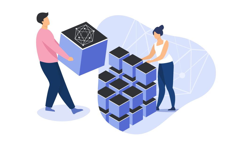 Two people constructing a cube of blocks with Hyperledger logo on the surface