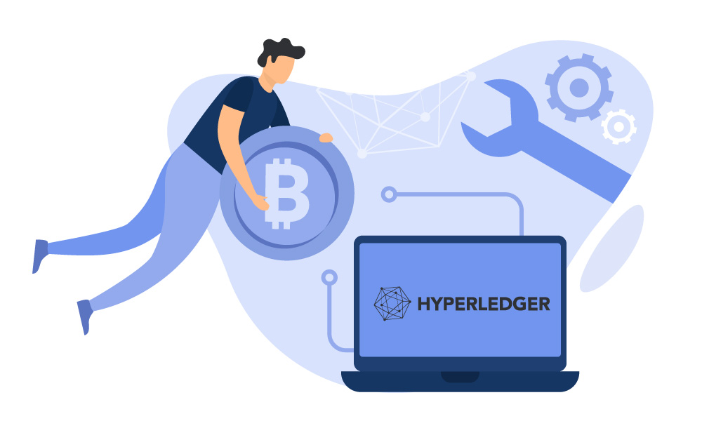 A person holding a bitcoin next to a laptop with Hyperledger logo on the screen