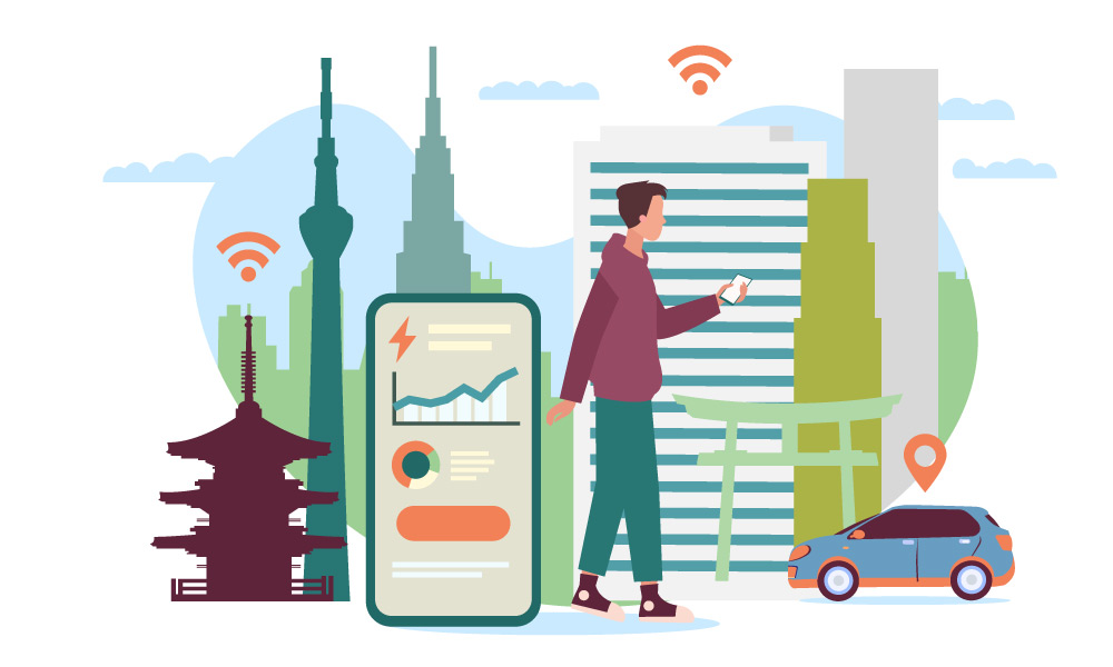 A person in a smart city surrounded by IoT devices