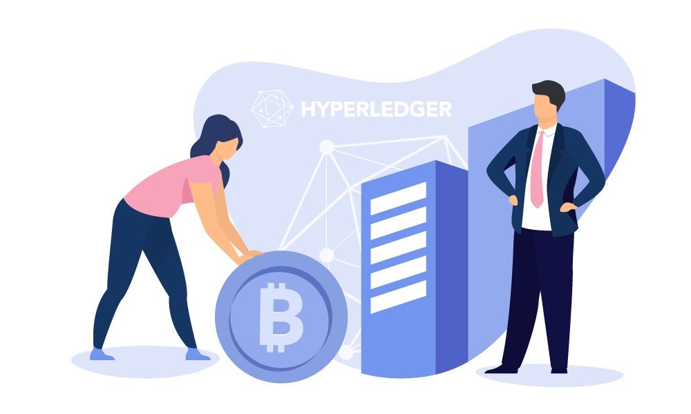 Two people next to a bitcoin and Hyperledger logo
