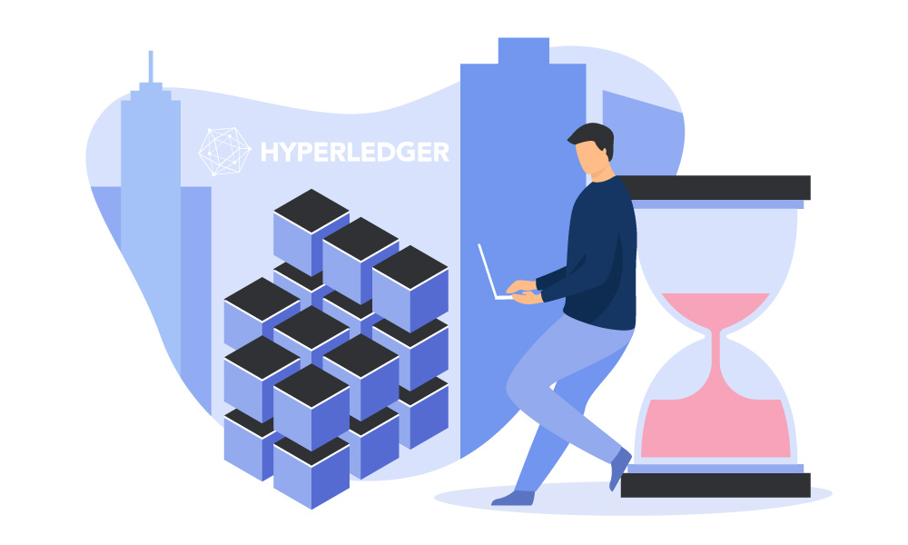 A person leans on an hourglass and using a laptop next to Hyperledger icon