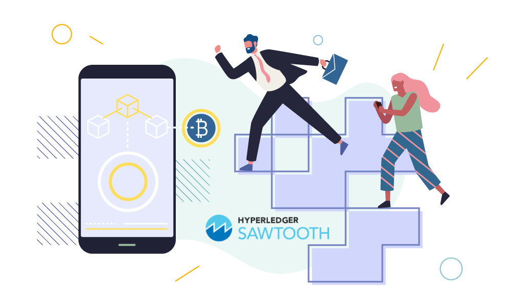 Two people next to a phone and Hyperledger Sawtooth icon