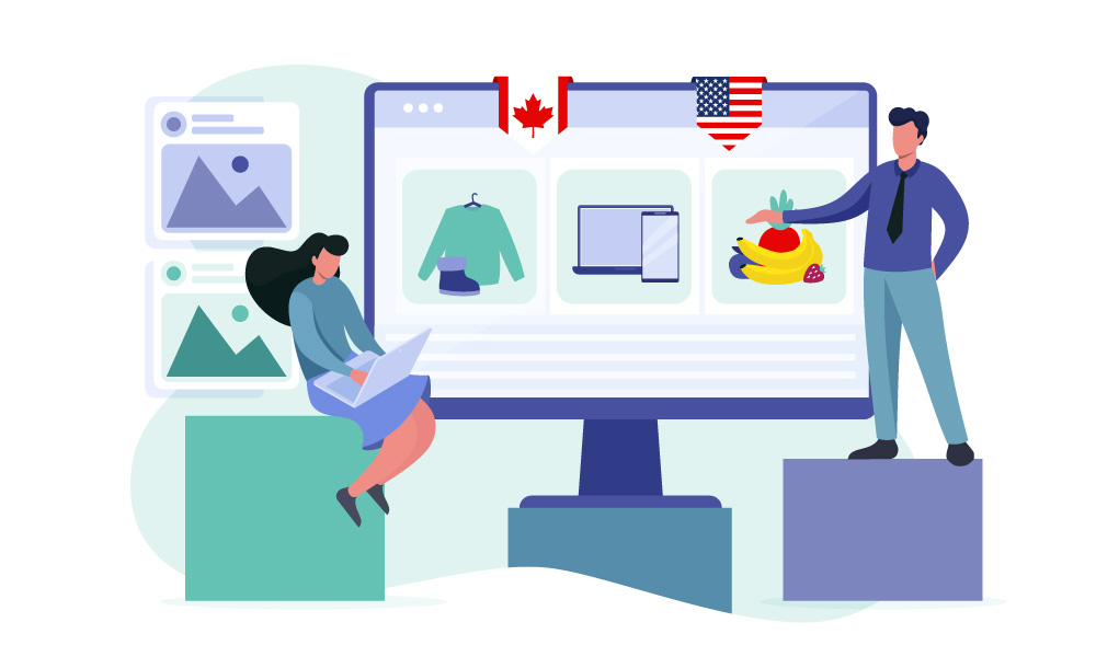 Two people illustrate the functionality of Shopify