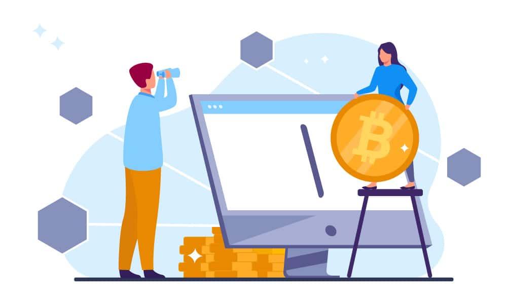 A person donates bitcoin physical coin to a charity via PC