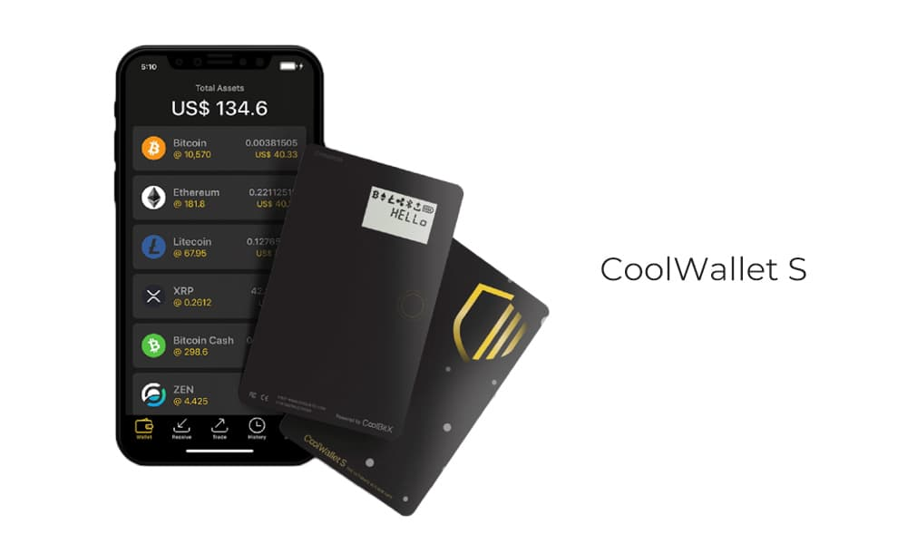 CoolWallet S interface on a mobile device
