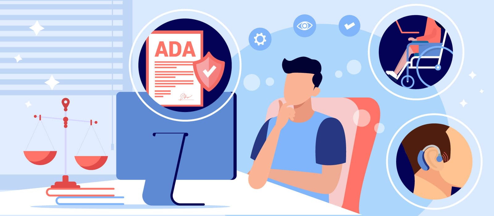 A person in front of a monitor intends to make ADA compliant website in accordance with the requirements
