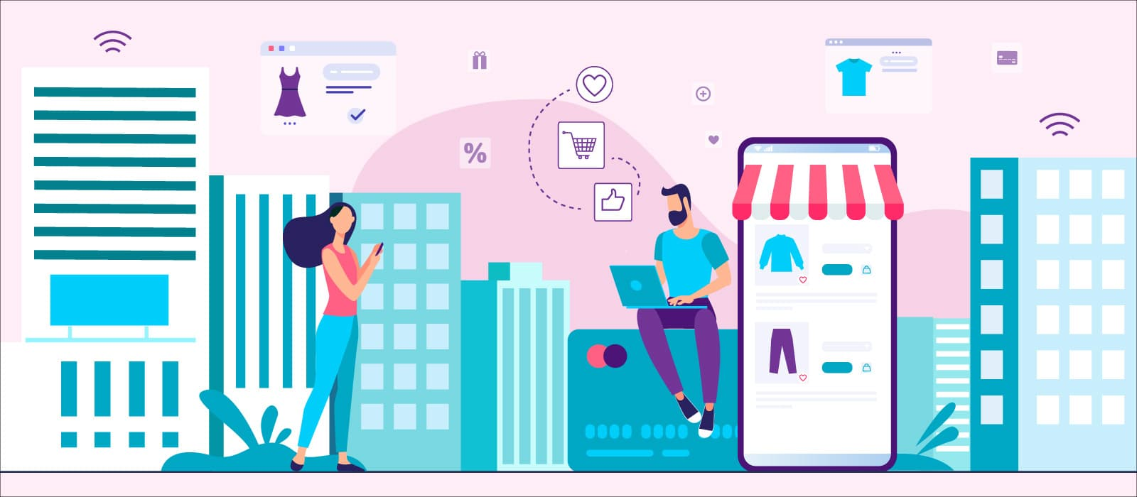 Two people shopping online next to web marketplace interfaces