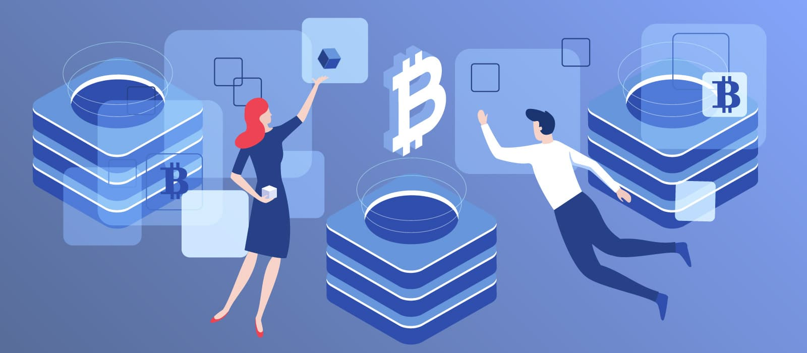 Two people surrounded by blocks and bitcoin icon