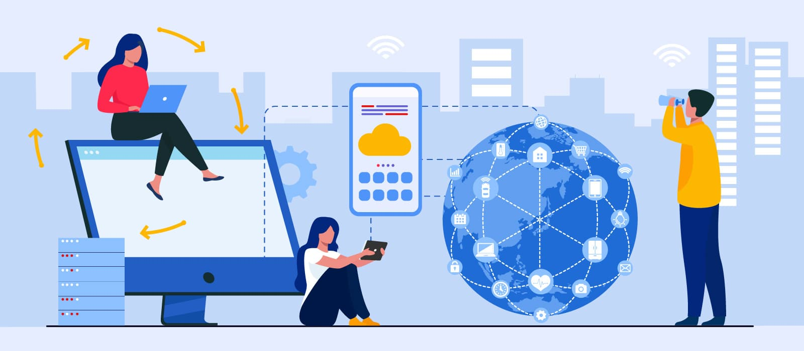 Three people next to cloud technology icons and a globe surrounded by IoT network
