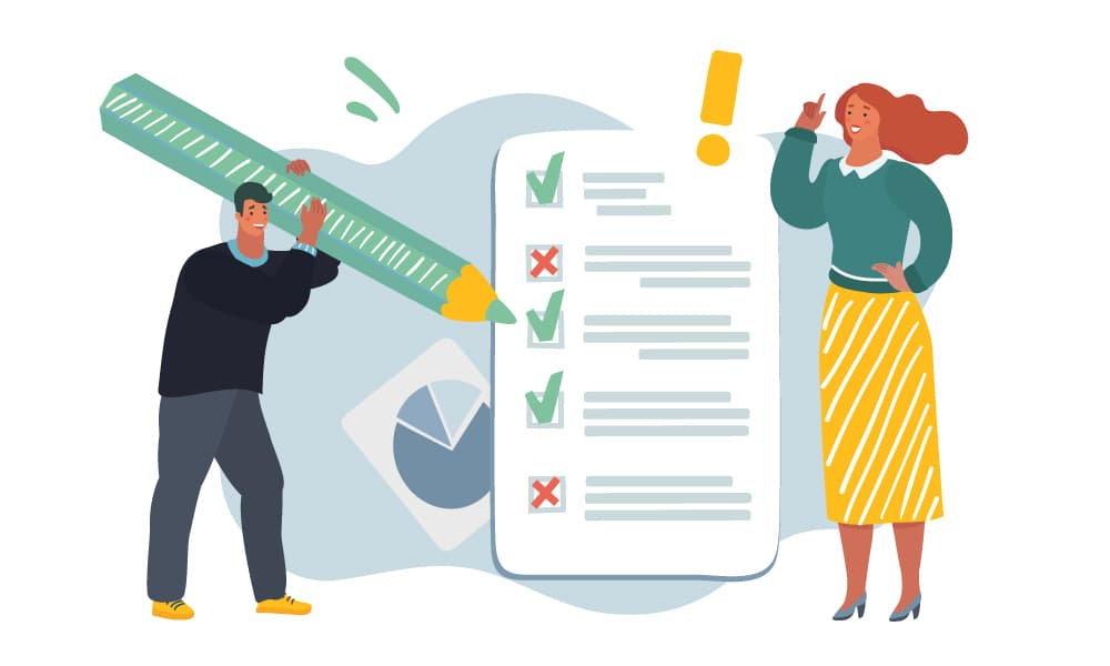 People look through a VPAT compliance checklist