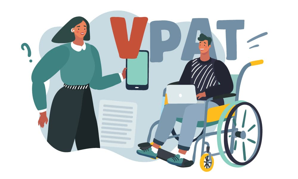 Two people operating devices next to a VPAT sign