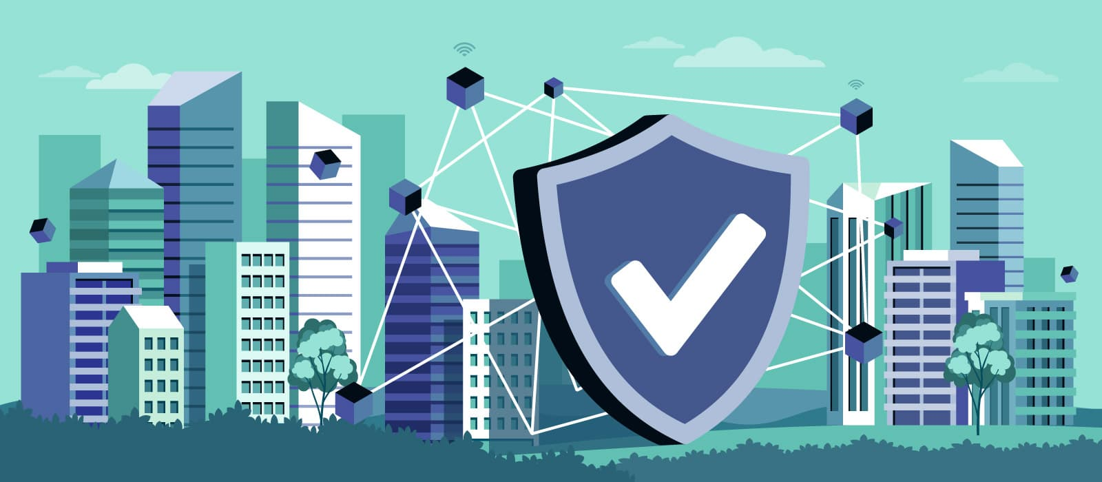 A security shield with a distributed network on a city background
