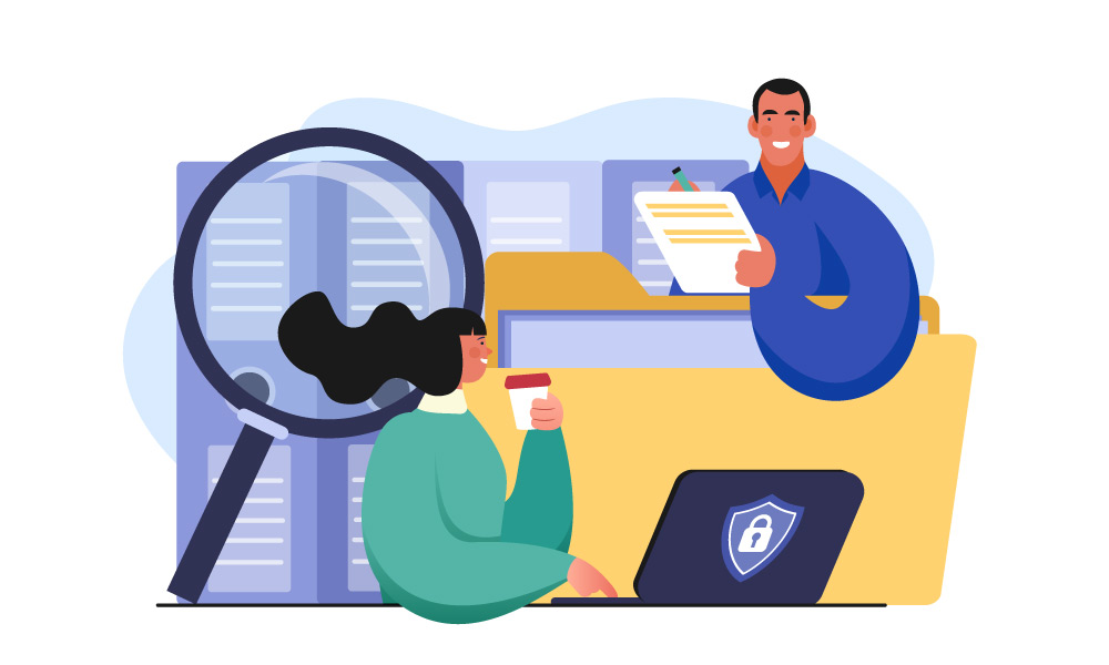 Two people signing documents next to a cybersecurity icon and a magnifier