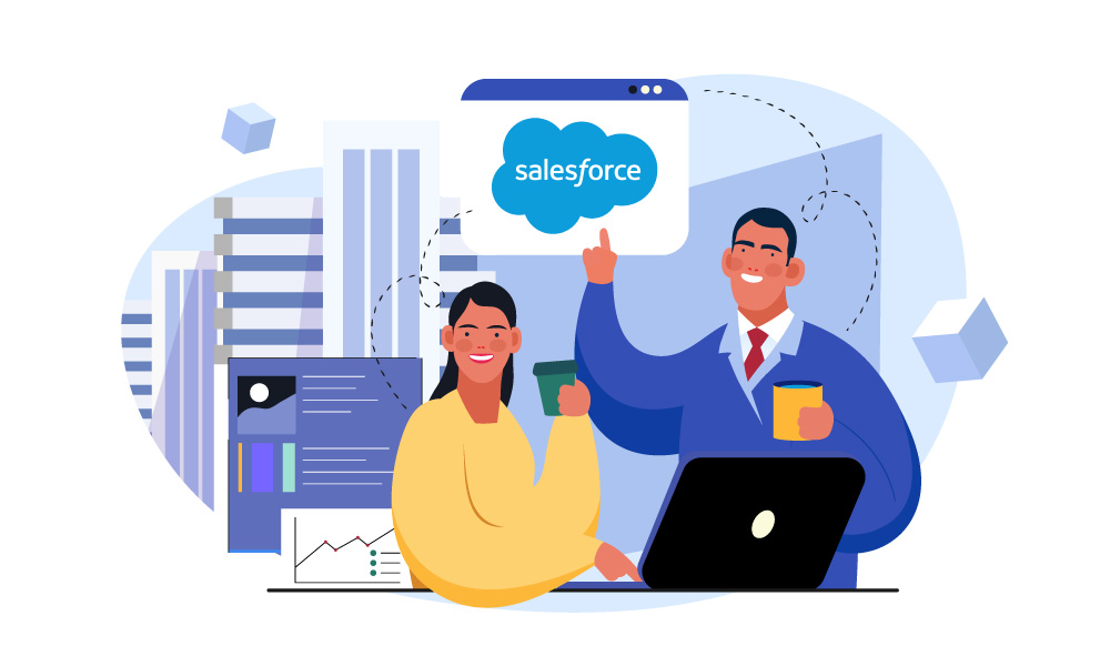 Two people integrate Salesforce Blockchain into their business