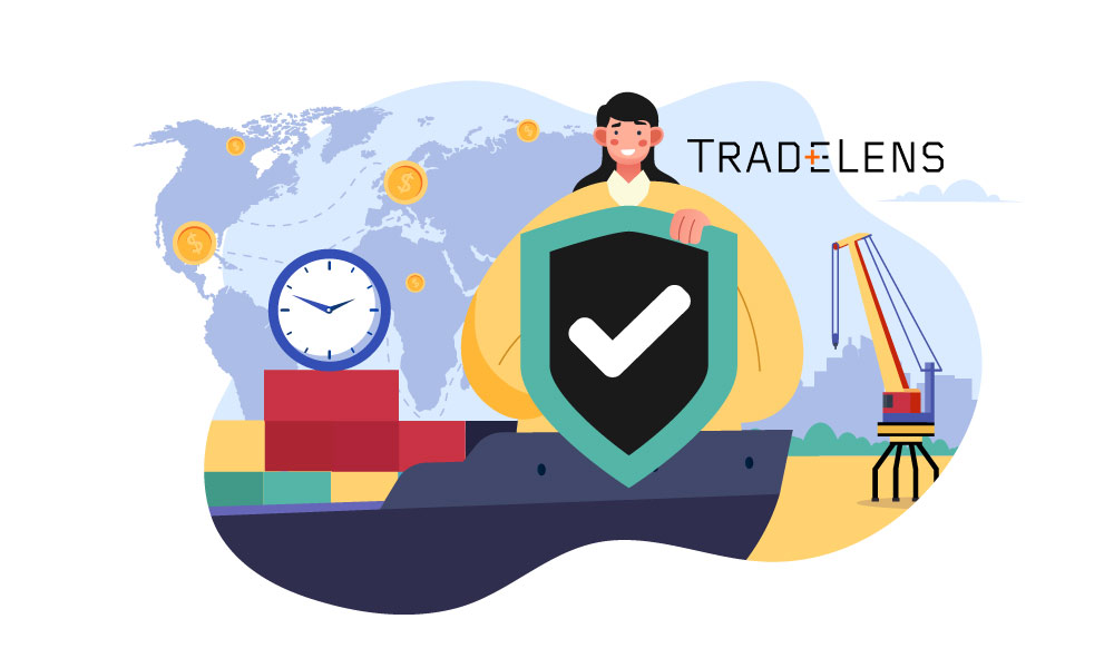 A person with a shield next to a world map and TradeLens logo
