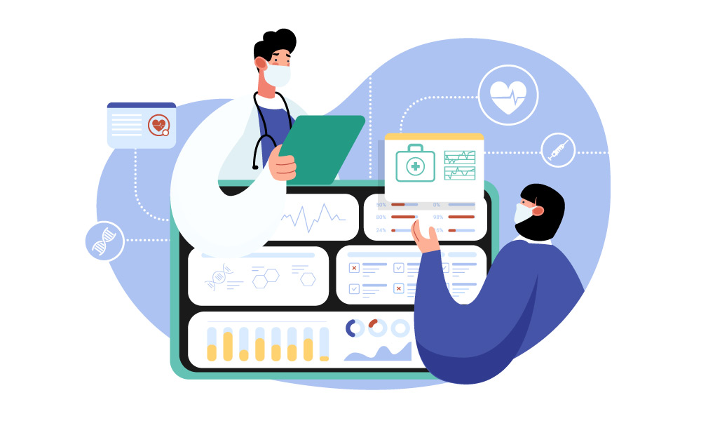 Healthcare workers building the interface of an app