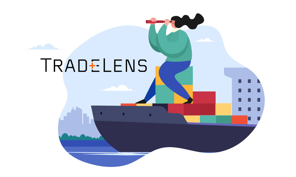 A person on a cargo ship uses a spotting scope next to TradeLens logo