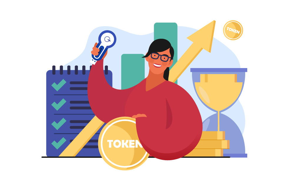A person next to a checklist of tokenization benefits