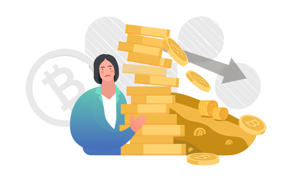 A disappointed person holding a pile of coins