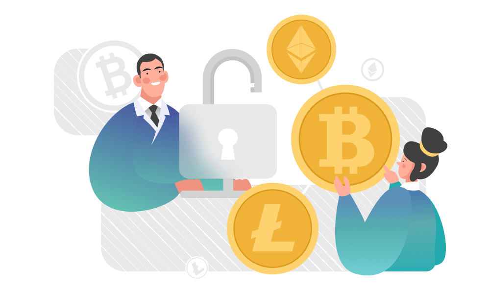 People holding a padlock next to Ethereum, Bitcoin, and Litecoin tokens