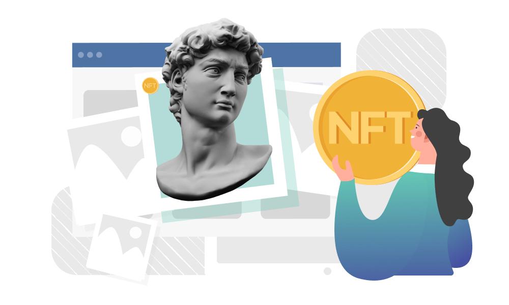 A person holding an NFT token next to a bust