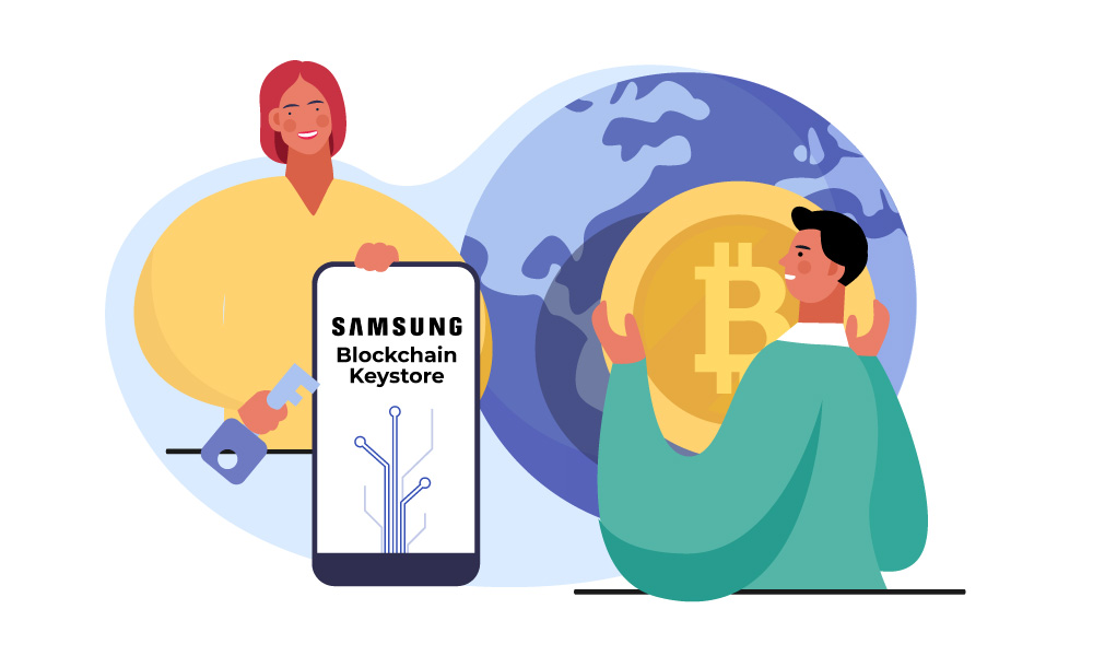 Two people managing Samsung Blockchain Keystore on a phone