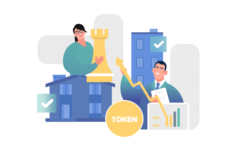 Two people demonstrating token growth on buildings background