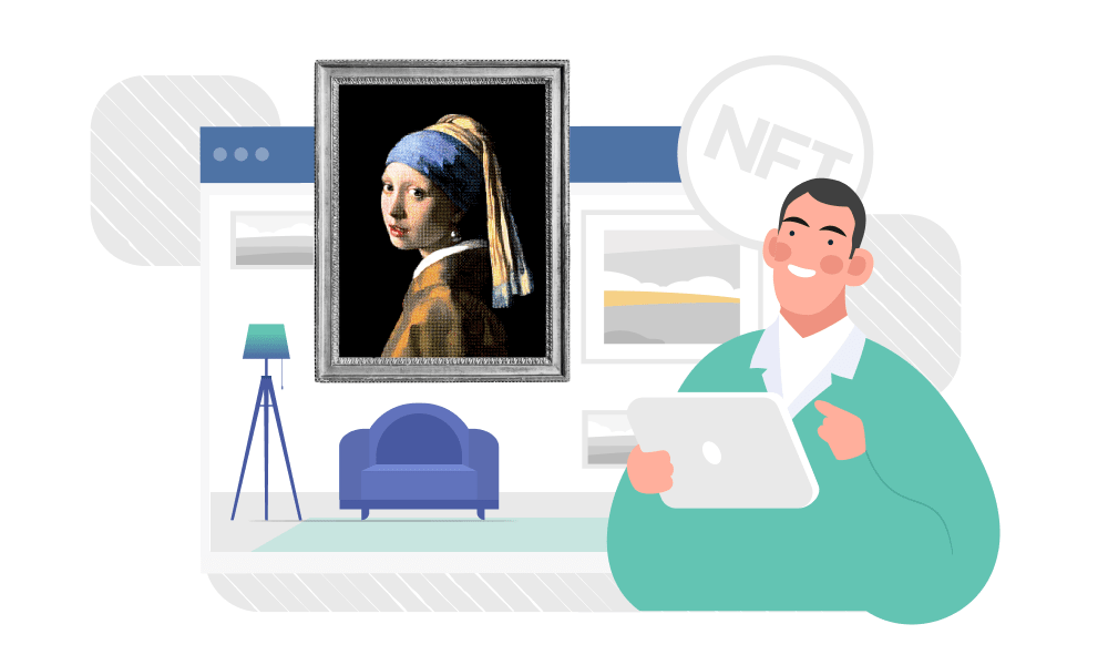 A person analyzing NFTs next to a famous picture