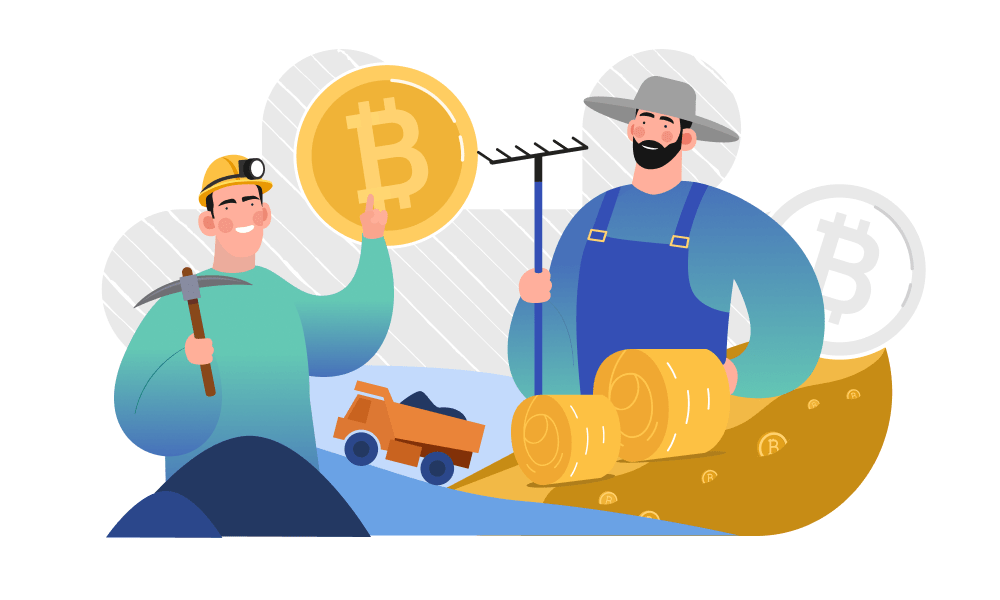 A miner and a farmer are pointing to a bitcoin
