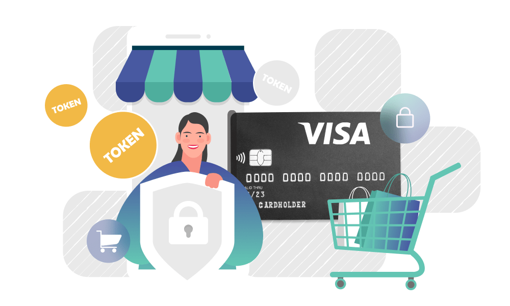 A person holding a shield next to a visa credit card and a trolley with bags
